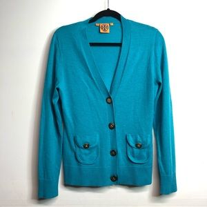 Tory Burch blue cardigan signature buttons READ